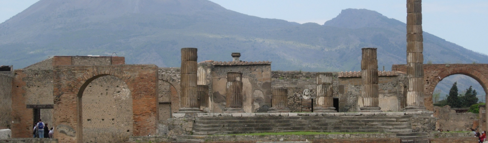 Pompeii with Vesuvius in background