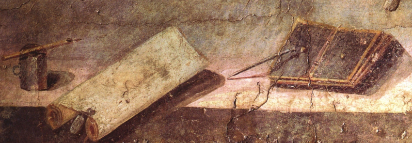 fresco of Roman writing implements