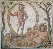 Mosaic depicting Aion, god of eternity, surrounded by a celestial sphere