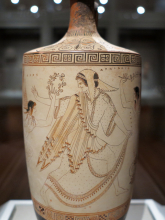 Ancient Greek image of Atalanta on a ceramic pot