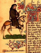 Illustration of Chaucer from the Ellesmere manuscript of the Canterbury Tales