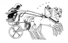 image of charioteer, line-drawing from Greek pot