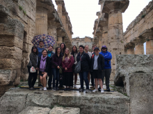 students in temple of Hera at Paestum