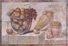Roman fresco of a bowl of fruit