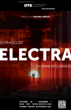 poster for Sophocles' Electra, translated by Frank McGuinness, presented by the undergraduate Theater Society October 22-Nov 1
