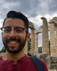 Outside the Temple of Nemea in Greece