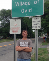 Stephen Hinds at town-line of Ovid, NY (Aug 2016)