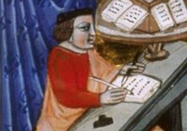 Medieval manuscript image of Cicero at desk