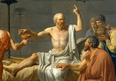 Detail from the painting The Death of Socrates by Jacques-Louis David