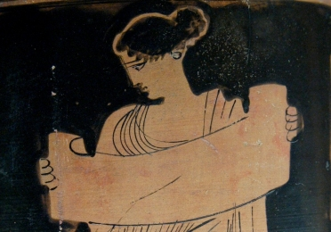 Greek painting of muse with scroll