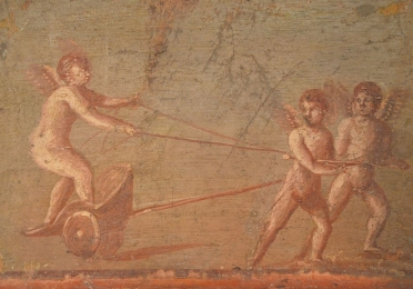 Roman wall painting of cupids pulling a chariot