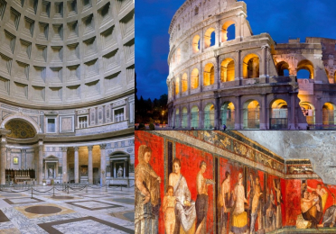 Collage of ancient Roman architecture including the Colosseum and Pantheon