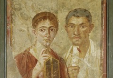 Ancient fresco-style painting of a baker and his wife