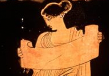 Ancient Greek artistic depiction of a woman holding a scroll