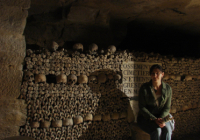 Kristina Killgrove photographed in ossuary in Paris catacombs