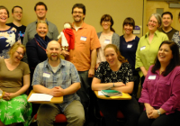 Catherine Connors (standing, third from right) with Latin teachers gathered on the UW campus, May 2016