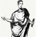 Roman in a toga; illustration from Vice Verba Latin game